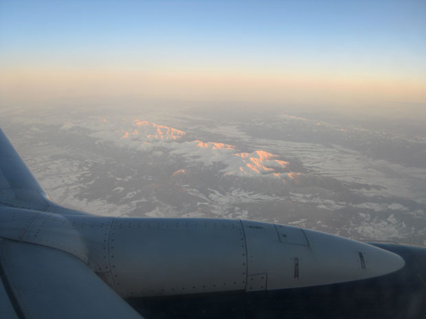 Utsikt från flygplanet innan landningen i Bratislava