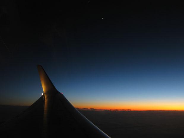 Solnedgång på vägen hem